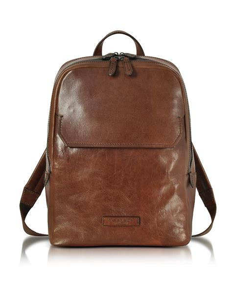 the bridge marrone leather s backpack in brown for
