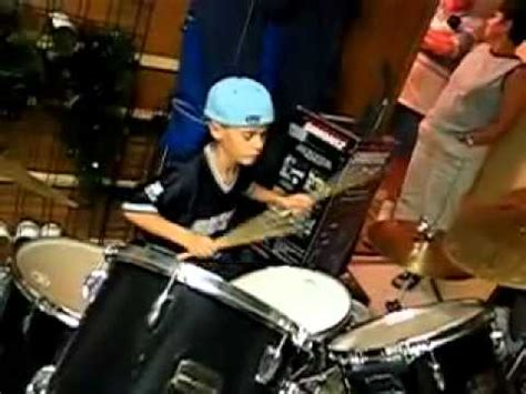 justin bieber playing  drums  age  youtube