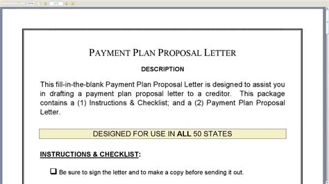 payment plan proposal letter youtube