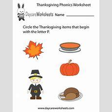 Free Preschool Thanksgiving Phonics Worksheet
