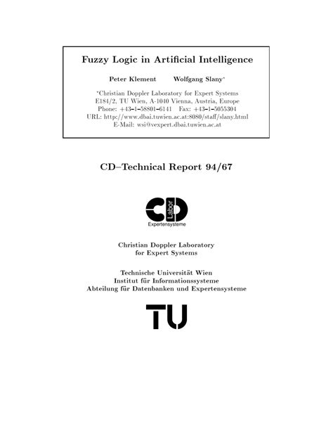 (PDF) Fuzzy Logic in Artificial Intelligence