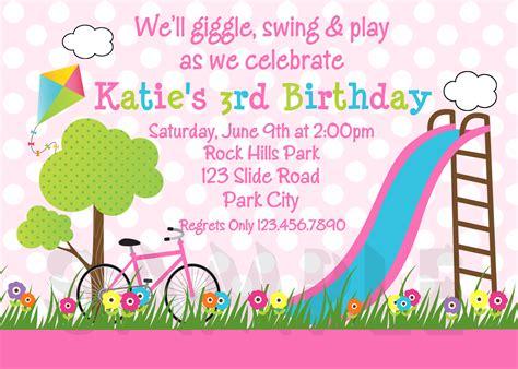 Printable Birthday Invitations, Girls Park Party