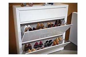 Meuble A Chaussure Suspendu : meuble chaussures laqu blanc brillant 2 portes et 1 ~ Teatrodelosmanantiales.com Idées de Décoration