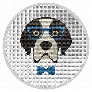 Hipster Dog Modern cross stitch pattern PDF Instant