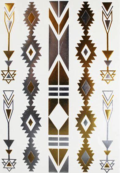 tatouage ephemere motifs navajo dore argente pinteres