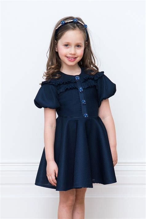 Bejewelled Navy Party Dress - David Charles Childrens Wear ...