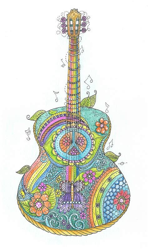 hippy guitar coloring page southernskystudio sellfycom
