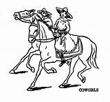 Coloring Horse Cowgirl Riding sketch template