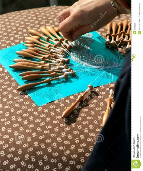 pillow lace making stock photo image  color pins