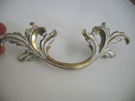 pull kitchen cabinets vtg nos white brass large dresser drawer pulls 4435
