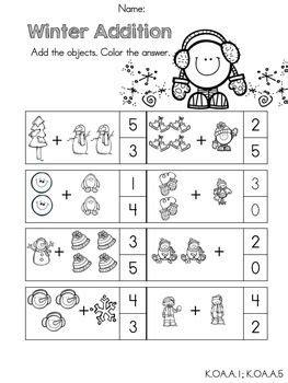 winter math worksheets kindergarten tpt math lessons