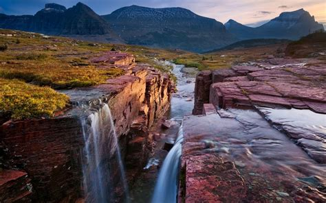 glacier national park montana triple falls coast red rock