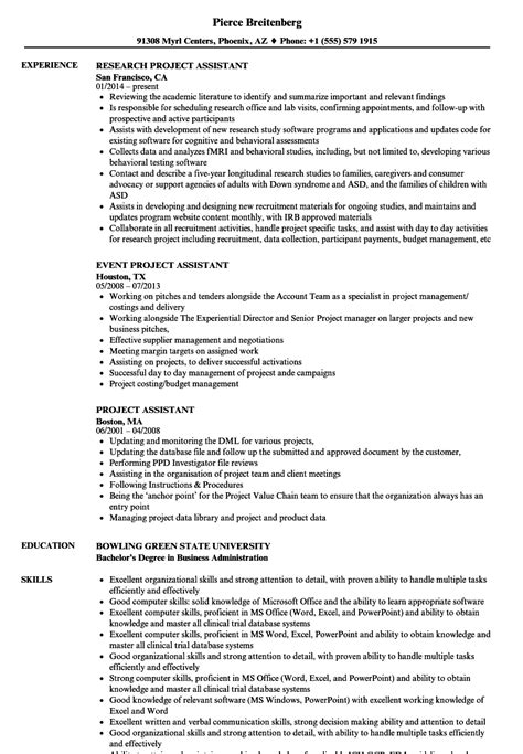 Project Assistant Resume by Project Assistant Resume Sles Velvet