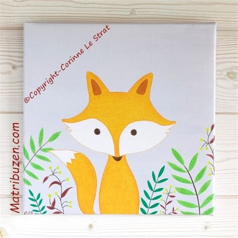 idée peinture chambre bébé garçon tableau déco chambre enfant bébé thème forêt renard