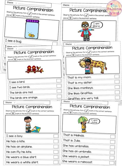 march picture comprehension cards  worksheets tpt