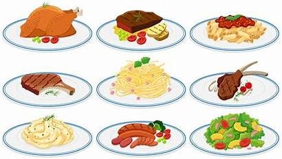 Different Types Plates Clip Vector Clipart Illustration