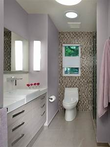 Contemporary, Purple, Bathroom, With, Tile, Accent, Wall