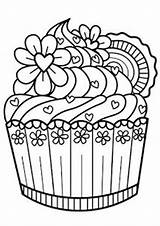 Coloring Cupcake Dessert Blank Notebook Diary Adult Zentangle Cakes Sheets Colouring Cupcakes Adults Doodle Drawings Journal Desserts Books Painting Lined sketch template