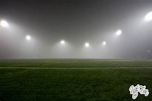 Seattle December 2013 7; Foggy Night Park Soccer Field Sil ...