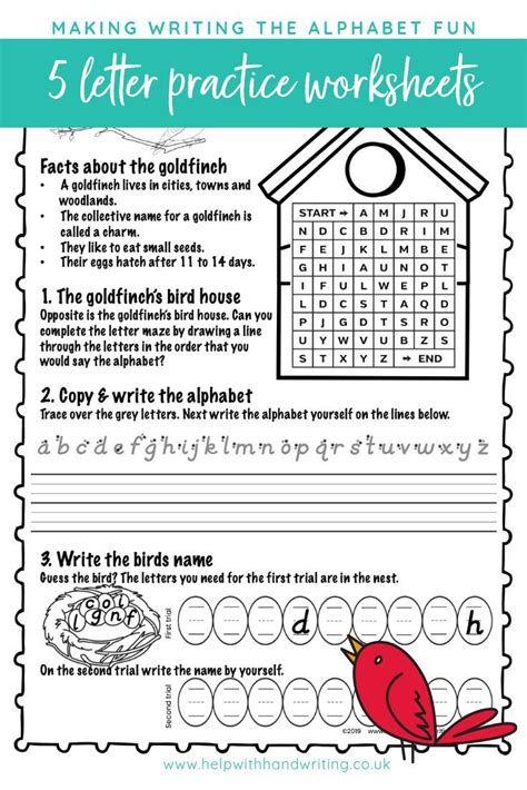 alphabet sequence write   spring birds