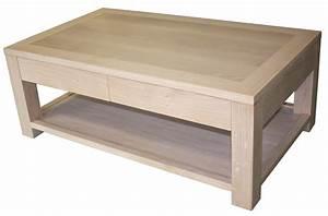 Table Basse Chene Blanchi : table basse 2 tiroirs double plateau ch ne blanchi ~ Melissatoandfro.com Idées de Décoration