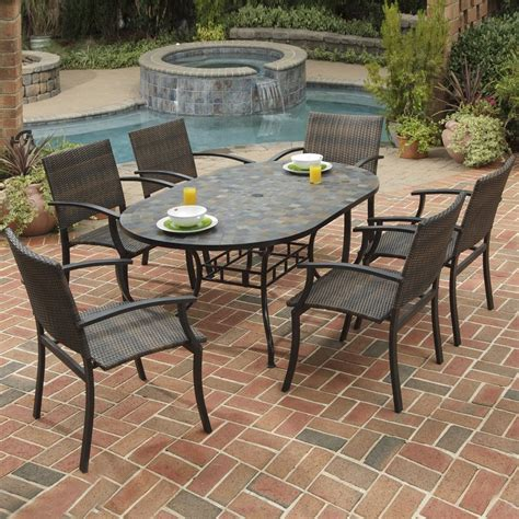 outdoor furniture tables only shop home styles stone harbor 7 piece slate patio dining