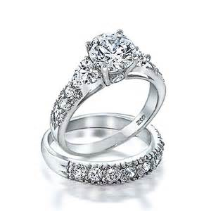 silver wedding ring sets bling jewelry 925 silver clear cz side stones wedding engagement ring set