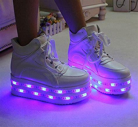 light up shoes size 5 pu leather white high heel led light up platform shoes