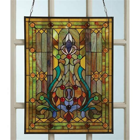 tiffany style victorian stained glass window panel hanging