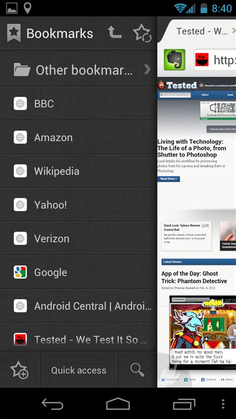 bookmarks android chrome for android vs dolphin hd vs firefox mobile vs