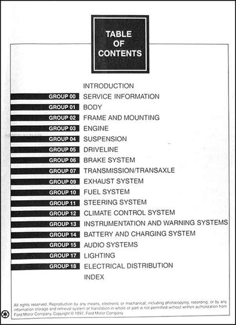 ford taurus  mercury sable repair shop manual original