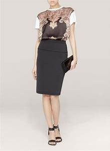 givenchy pleated back pencil skirt in black lyst