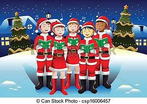 Clipart Vector of Children singing in Christmas choir - A ...