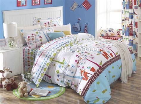 fox birds woodland bedding girls kids  pieces bed set