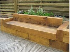 Oak Bench with raised flower beds Deck designs