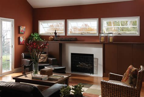 awning windows contemporary living room raleigh  ply gem