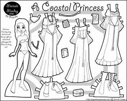 Dolls Paper Printable Princess Coastal Doll Coloring