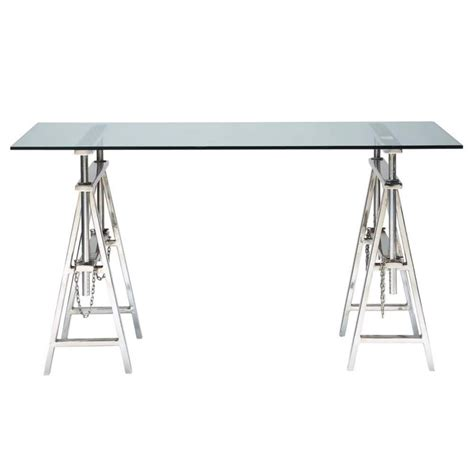 table bureau verre glass and chrome metal desk w 150cm helsinki maisons du