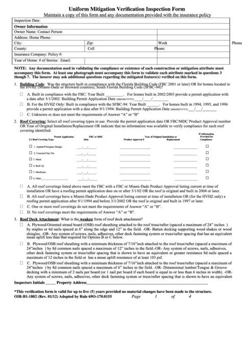 uniform mitigation verification inspection form oir