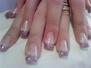 French manicure pink with white ribbons   Polished nails ...