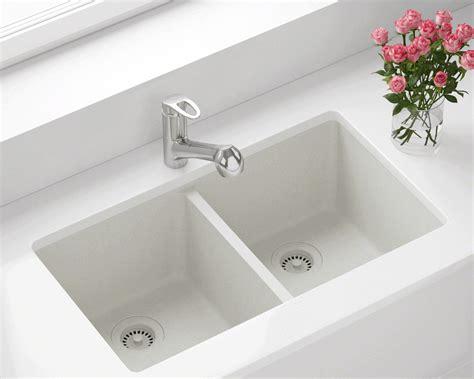 white double equal bowl trugranite kitchen sink