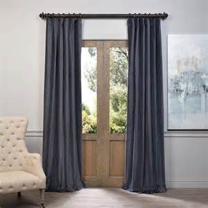 exclusive fabrics furnishings blue grey vintage cotton velvet curtain panels drapes curtains