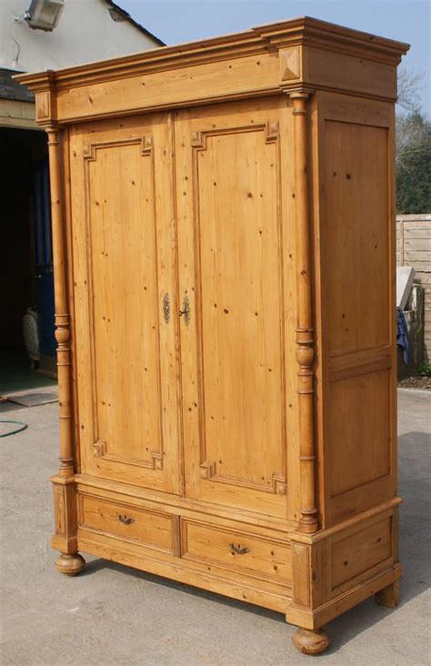 late 19th century large antique solid pine armoire