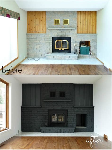 painted brick fireplace remodelaholic gray painted fireplace focal wall Modern