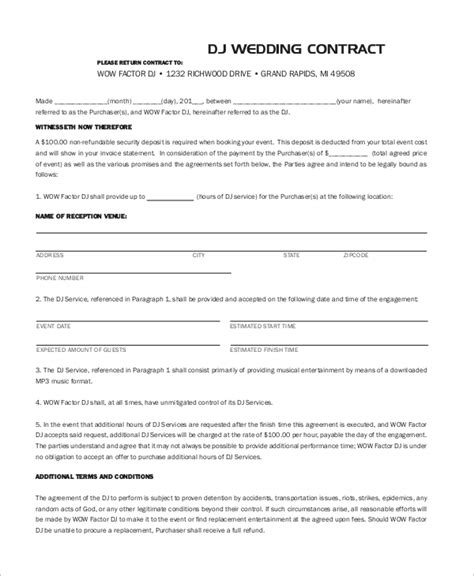sample dj contracts  ms word  google