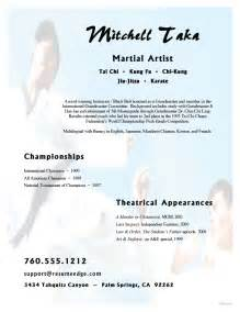 arts resume exles martial arts resume exle sle resumes for karate and martial arts instructors