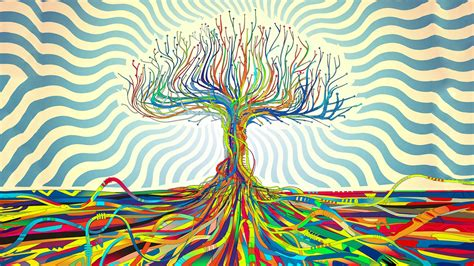 Trippy Anime Wallpaper - abstract matei apostolescu trees psychedelic wires