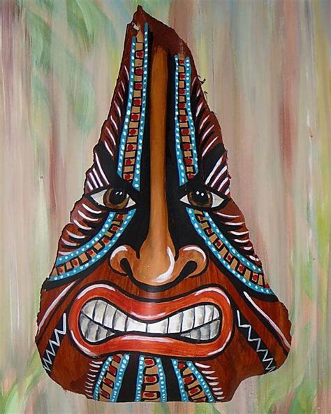 Palm Tiki by Tiki Mask Painted On Palm Frond Tikis Palm
