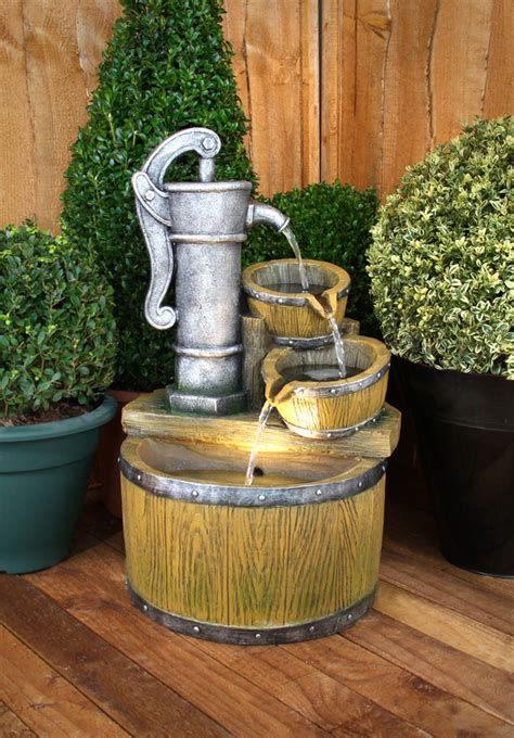 wooden garden fountains    real work  art