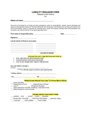 printable property damage release form templates